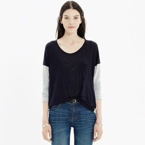 Madewell Scoopneck Roster Colorblock Tee Shirt